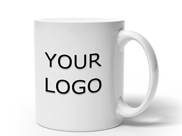 11oz Custom plain white ceramic coffee mugs with logo China stoneware ceramic cups with decal wholesale