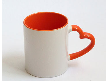 sublimation mug 11oz ceramic white mug for sublimation With Color Handle and Colour Inside