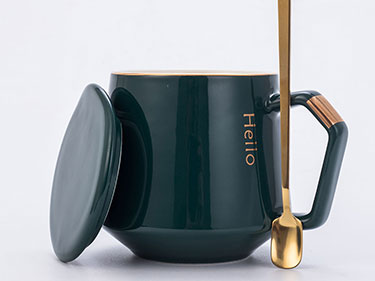 380ml Green european luxury thin minimal ceramic coffee gold striped mugs with lid and spoon Espresso elegant nordic tea set
