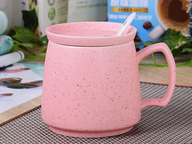 ceramic speckle espresso coffee mug with lid and spoon pink crown nordic ceramic mug cute