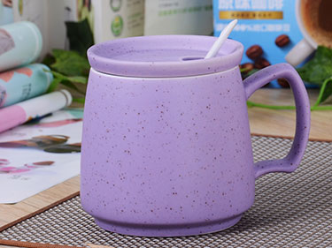 14oz custom queen of everything mug ceramic cups wholesale purple ceramic speckle mug with lid and spoon