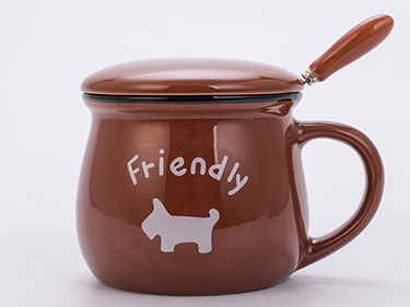 350ml brown ceramic coffee mugs with lid and spoon cartoon cute gift dog tea cups wiht logo