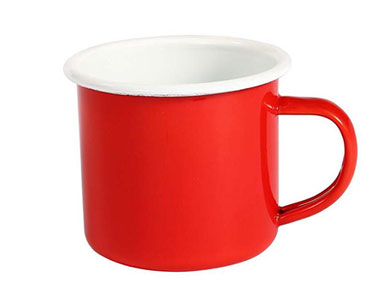 Custom red 17oz solid color enamel ceramic mugs retro thickened ceramic coffee mugs
