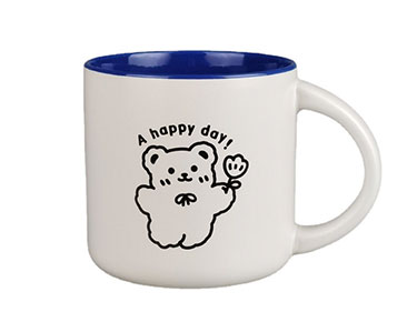 Creative 11oz personality trend lovely ceramic mugs Inner color glazed cartoon ceramic coffee cups