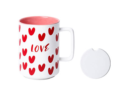 Custom 16oz sublimation ceramic mugs with lid Pink retro coffee cups with love logo factory