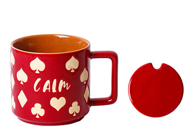 Custom short sublimation ceramic mugs with lid Red retro coffee cups with poker logo manufacturers