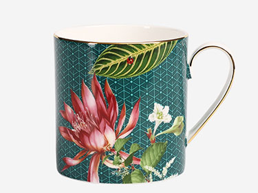 Straight flower printed ceramic mugs Fine bone china coffee cups with gold rim