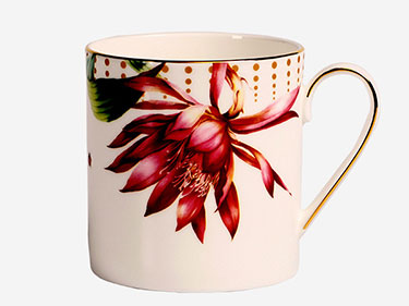Custom 11oz sublimation straight flower printed ceramic mugs Fine bone china manufacturers