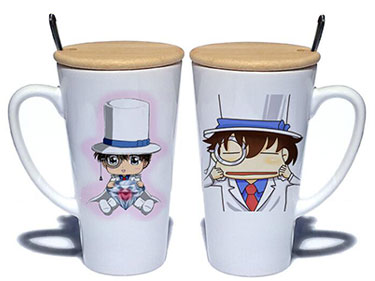 Custom white ceramic mugs with wood lid detective conan logo large coffee mugs